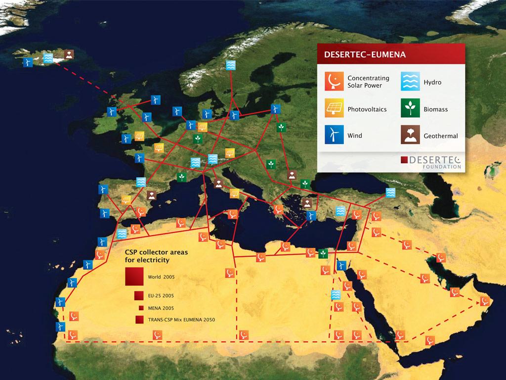 DESERTEC EU-MENA Map