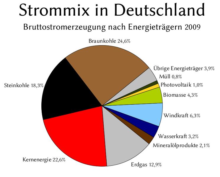 Strommix in Deutschland 2009 nach Energieträgern