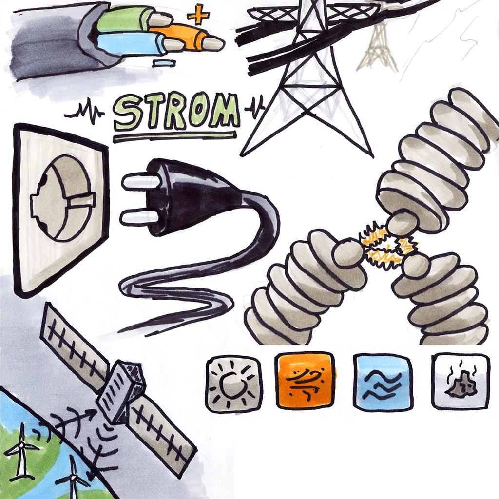 Skizzen Stromstecker, Stromkabel, Spannung