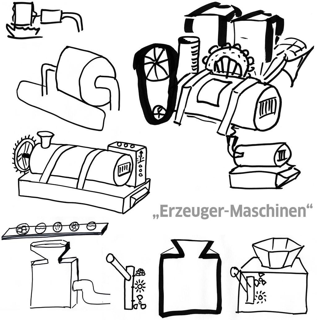 Entwürfe: Stribles Erzeugermaschine