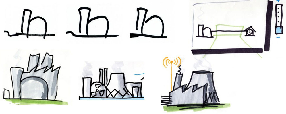 Kraftwerke aus verschiedenen Skizzen